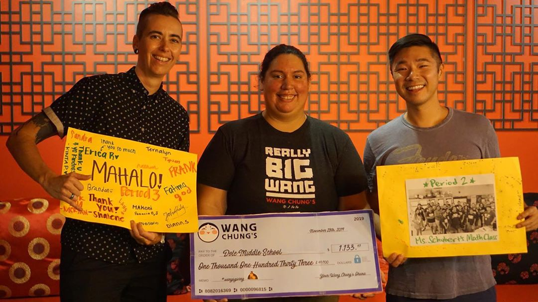 The spirit and positive attitudes of all the people who come through Wang Chung's is nothing short of inspiring. All of our Wangsgiving proceeds this year will benefit the students of Dole Middle School in Kalihi who cannot afford to buy (or launder) their school uniforms! Y'all raised $1,133 for Dole Middle School on #wangsgiving!  A special mahalo to Chef Curtis from @elchinoloco.life and Chef @savagechey for the fixings. Wangsgiving started when Chef @mexicanrandyhi wanted to give back to his local community, and we've been continuing this tradition every year since! I'm always humbled by all of you amazing people, and grateful to call you all #ohana. Mahalo! #wangchungs #thankful #hawaii